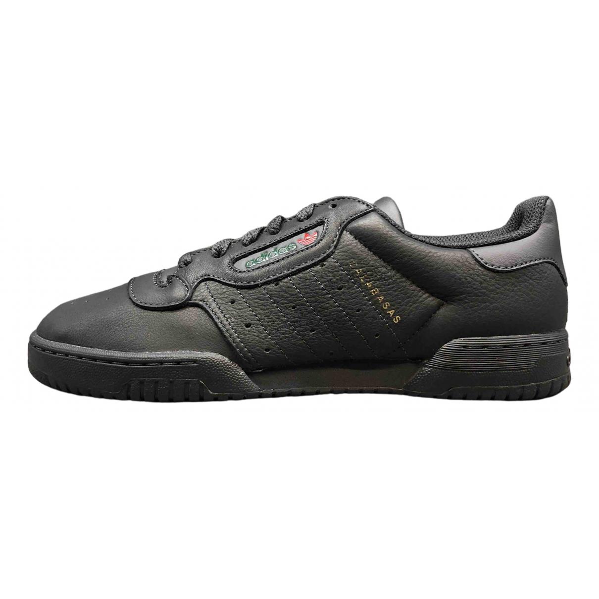 Yeezy X Adidas - Baskets POWERPHASE pour homme en cuir verni - noir