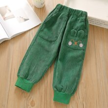 Pantalones de pana con bordado de dibujos animados