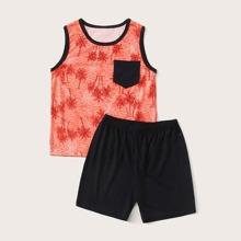 Jungen Schlafanzug Set mit tropischem Muster und Kontrast Bindung