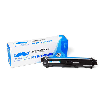 Compatible Brother TN225C - TN225 cyan cartouche de toner de Moustache, haut rendement