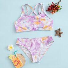 Girls Tie Dye Criss Cross Bikini Swimsuit