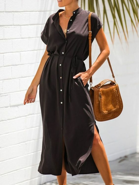 Yoins Black Button Design Stand Collar Midi Dress