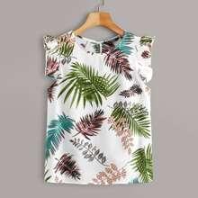 Plus Tropical Leaf Print Ruffled Top