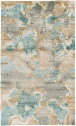 SLI6407-913 9' x 13' Rug  in Ice Blue and Dark Green and Butter and
