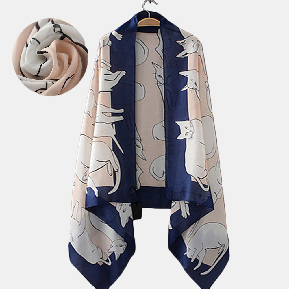 Cute Cat Pttern Casual Print Silk Scarf Beach Scarf Shawl