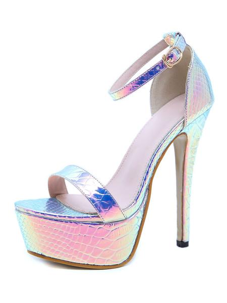 Milanoo Women Platform Sandals Iridescent Fish Scale Pattern High Heel 5.7 Sexy Shoes