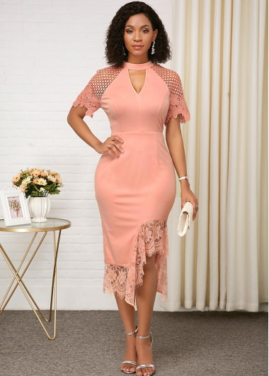 Pink Keyhole Neckline Lace Panel Dress - 16