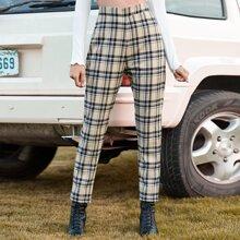 Hose mit hoher Taille, Reissverschluss hinten und Plaid Muster