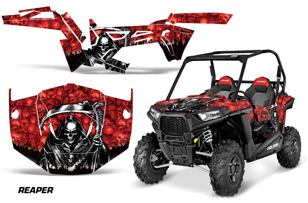 AMR Racing Full Custom UTV Graphics Decal Kit Wrap Reaper Red Polaris RZR 900 Trail 15-16