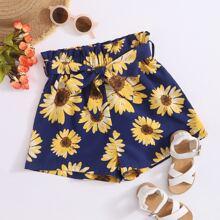 Shorts mit Papiertasche Taille, Guertel und Sonnenblumen Muster