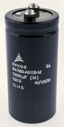 EPCOS 10000μF Electrolytic Capacitor 100V dc, Screw Mount - B41560A9109M