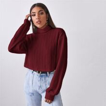 Turtle Neck Cable Knit Top