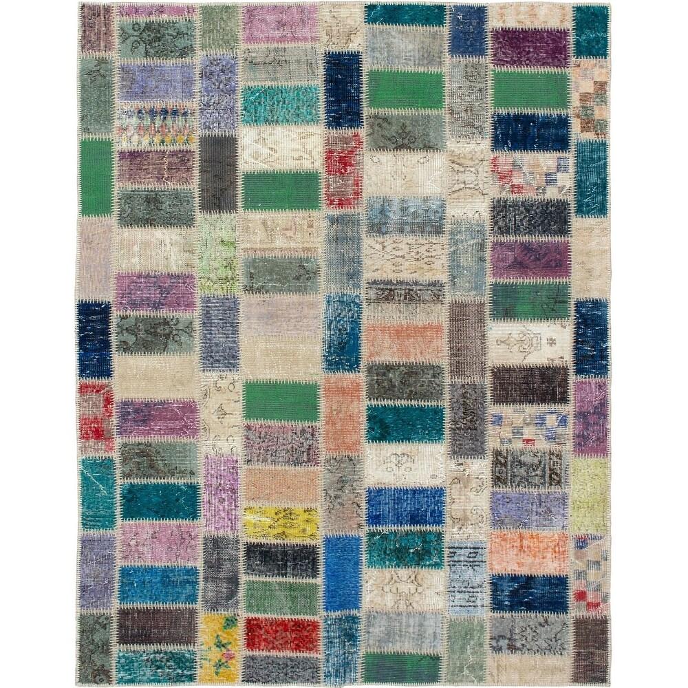 ECARPETGALLERY Hand-knotted Color Transition Patchwork Beige Wool Rug - 5'7 x 7'10 (Beige/ Dark Grey - 5'7 x 7'10)