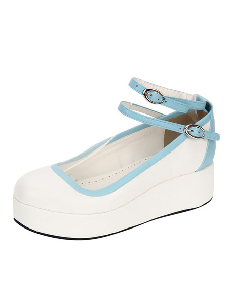 Milanoo Zapatos de lolita de PU de puntera redonda de dos tonos blancos Fiesta del te