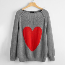 Plus Raglan Sleeve Heart Pattern Sweater