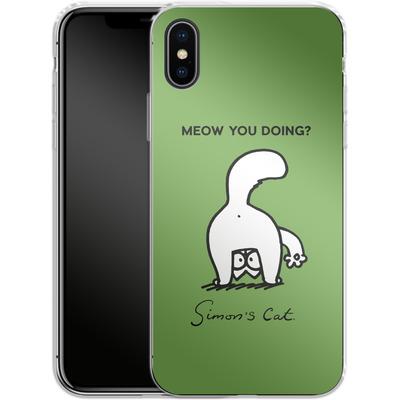 Apple iPhone X Silikon Handyhuelle - Meow You Doing? von Simons Cat