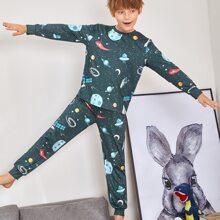 Conjunto de pijama top con estampado de galaxia con pantalones