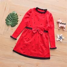 Pullover Kleid mit Schleife vorn und Herzen Muster