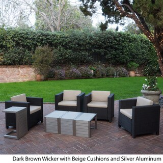 Puerta Outdoor 8-piece Seating Set with Cushions by Christopher Knight Home (Dark Brown+Beige)