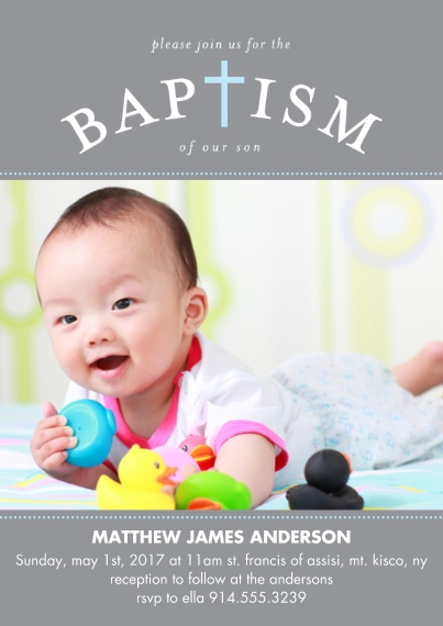 Baptism Invitations 5x7 Cards, Premium Cardstock 120lb with Scalloped Corners, Card & Stationery -Baptism Blessed