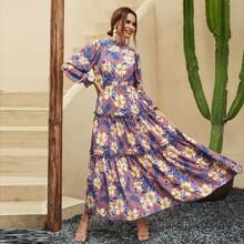 Floral Print Layered Ruffle Dress