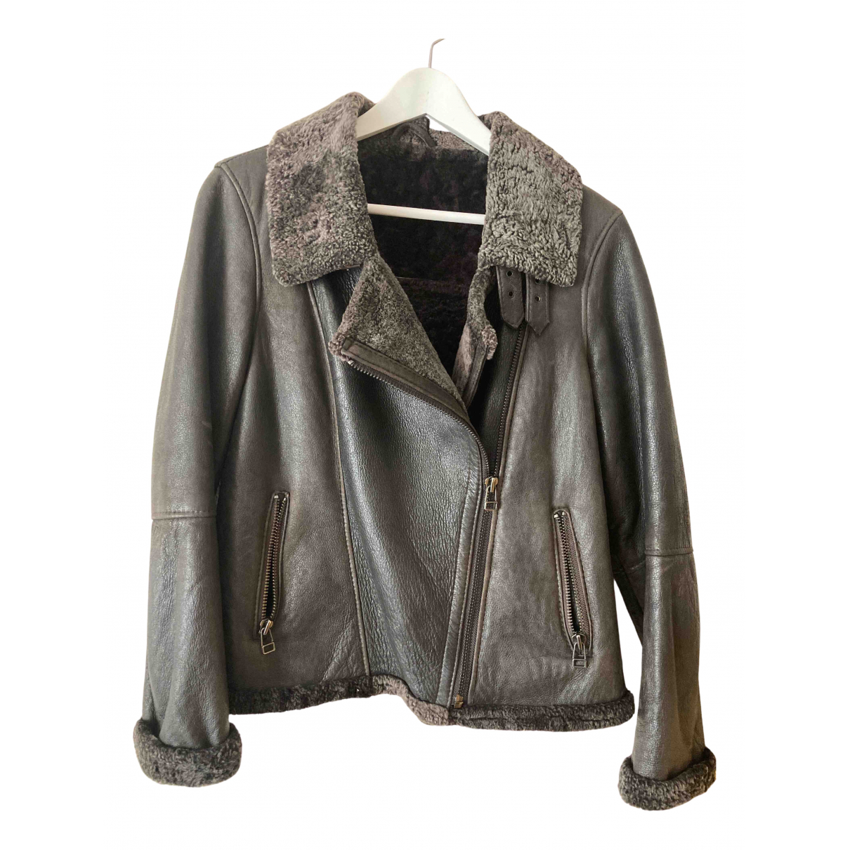 Non Signé / Unsigned N Brown Leather Leather jacket for Women 40 FR