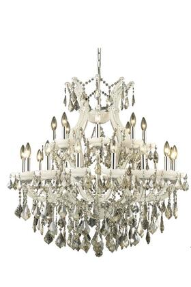 2800D36WH-GT/SS 2800 Maria Theresa Collection Hanging Fixture D36in H36in Lt: 24+1 White Finish (Swarovski Strass/Elements Golden