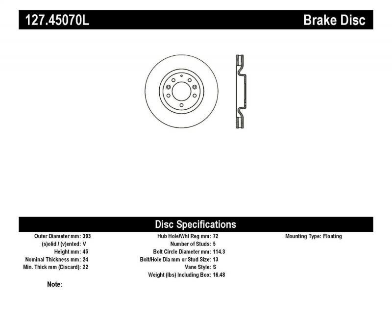 StopTech 127.45070L Sport Drilled/Slotted Brake Rotor; Front Left Mazda RX-8 Front Left 2004-2008 1.3L 2-Cyl
