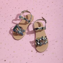 Toddler Girls Snakeskin Graphic Ankle Strap Sandals