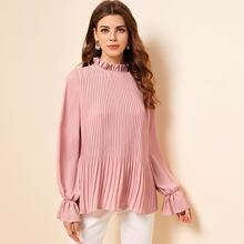 Ruffle Trim Pleated Blouse