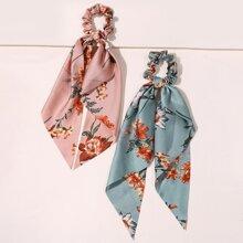 2 piezas pañuelo goma de pelo con estampado floral