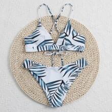 Palm Print Tie Back Bikini Swimsuit
