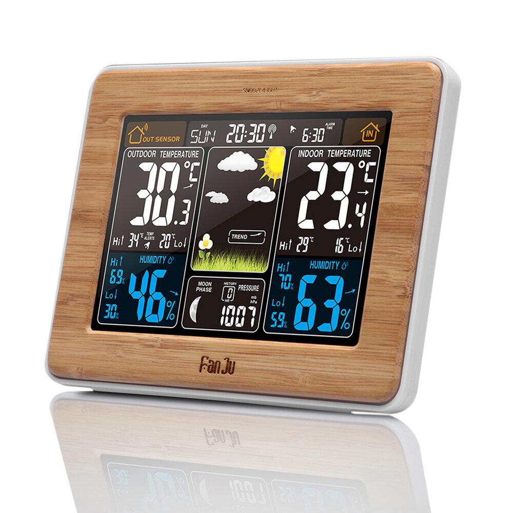 FanJu FJ3365 Wireless Weather Station Multi-function Digital Clock Temperature Humidity Despertador