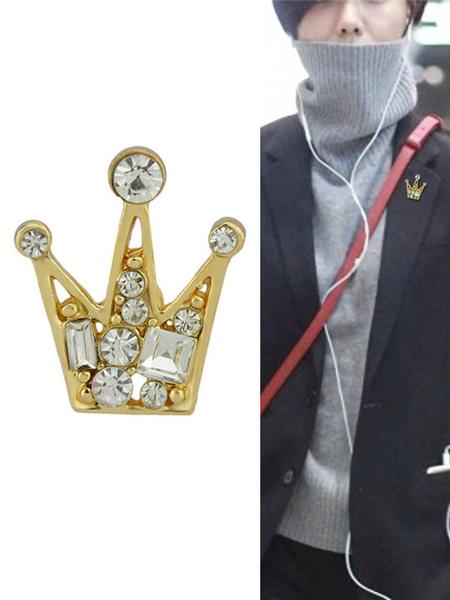 Milanoo Women Brooch Golden Rhinestone Crown Alloy Jewelry