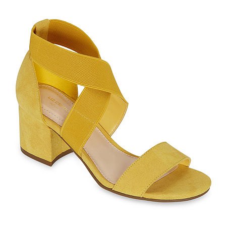 Liz Claiborne Womens Eaves Heeled Sandals, 8 1/2 Wide, Yellow