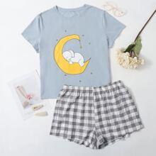 Schlafanzug Set mit Karikatur Grafik und Karo Muster