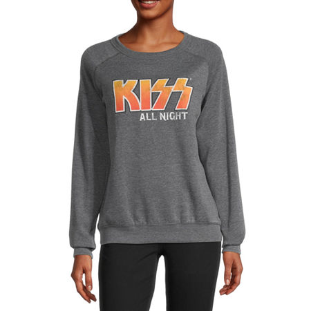 Juniors Kiss Womens Crew Neck Long Sleeve Sweatshirt, Medium , Black