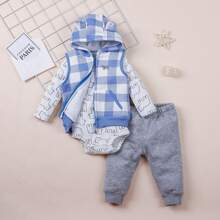 Baby Boy 3pack 3D Ears Cartoon Graphic Bodysuit & Sweatpants & Gingham Jacket