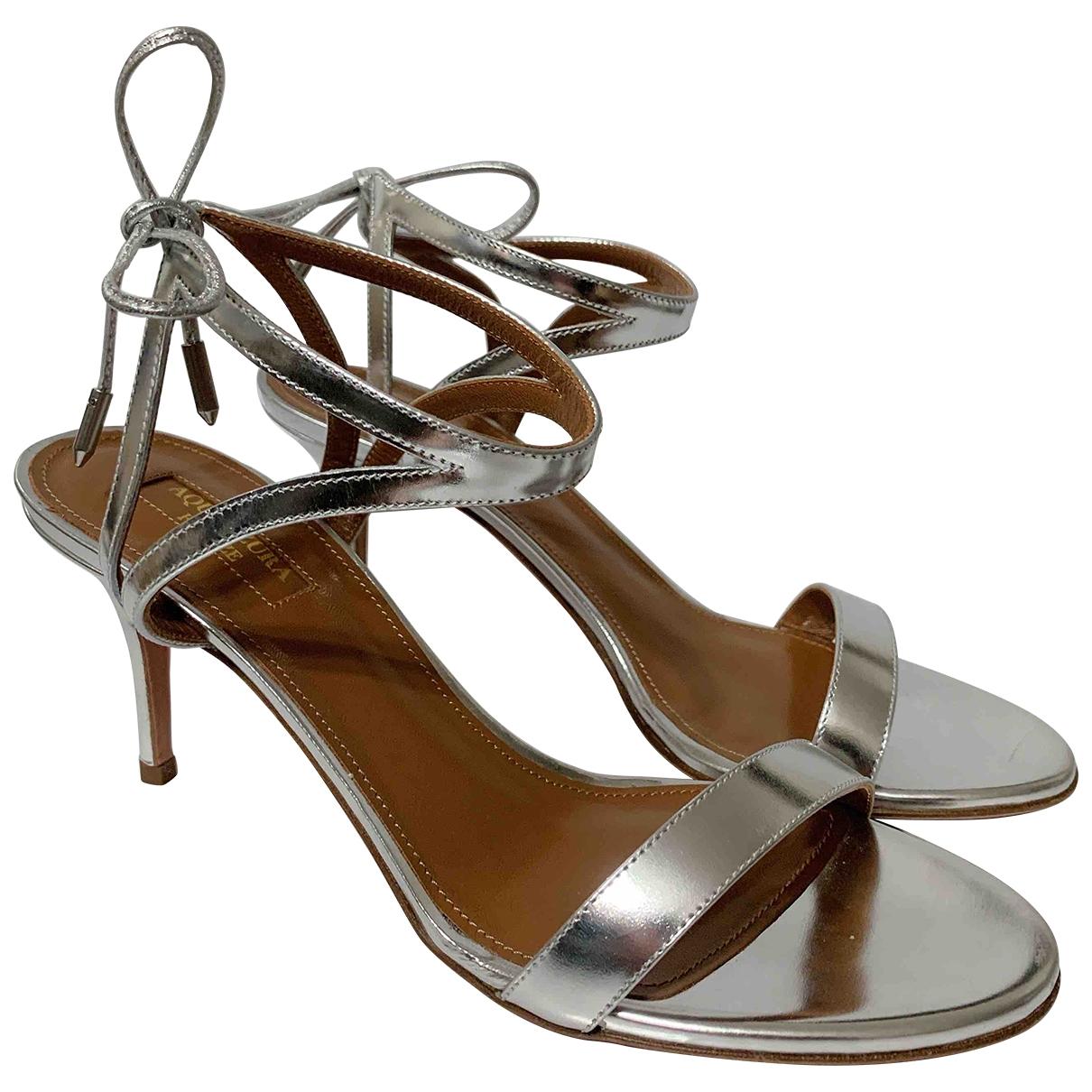Aquazzura \N Silver Leather Sandals for Women 38 EU