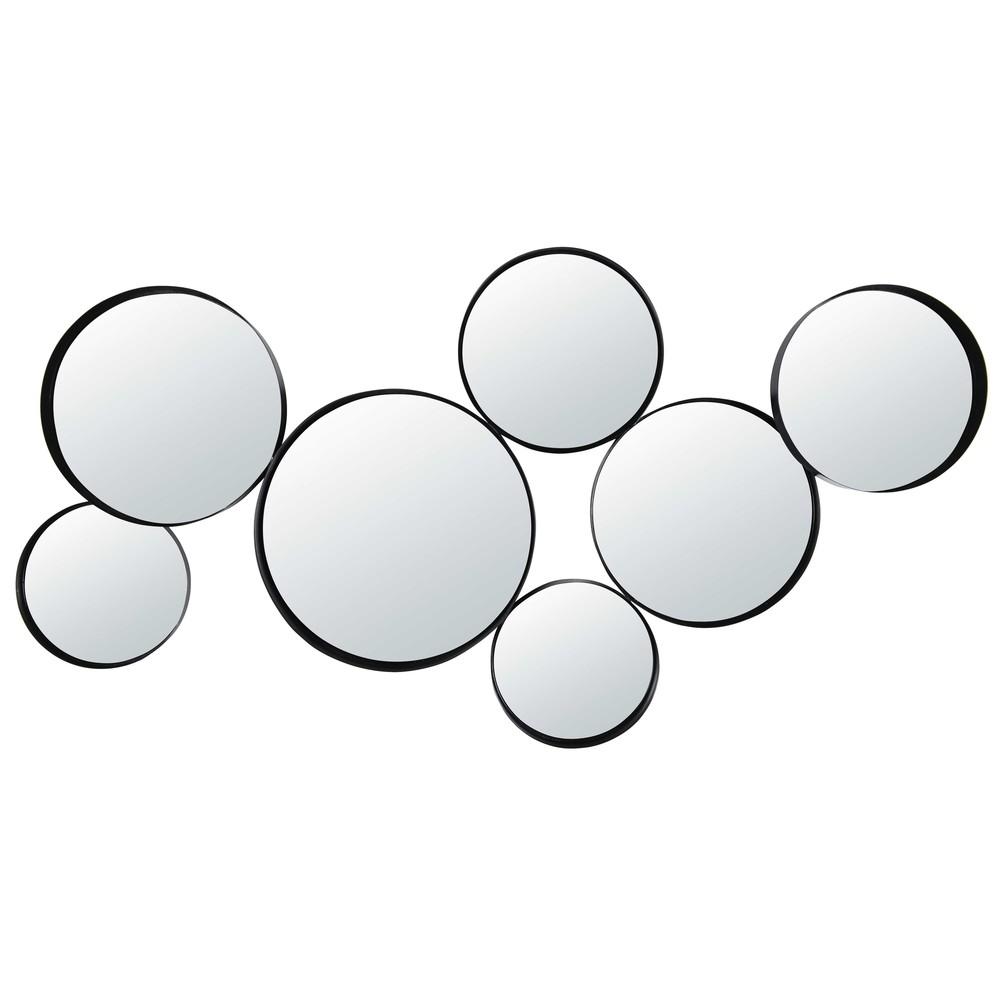 Runde Spiegel aus schwarzem Metall 121x66