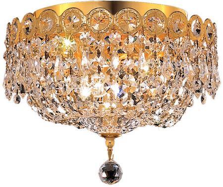 V1900F10G/SS 1900 Century Collection Flush Mount D:10In H:9In Lt:3 Gold Finish (Swarovski   Elements