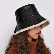 Lamb Wool PU Bucket Hat