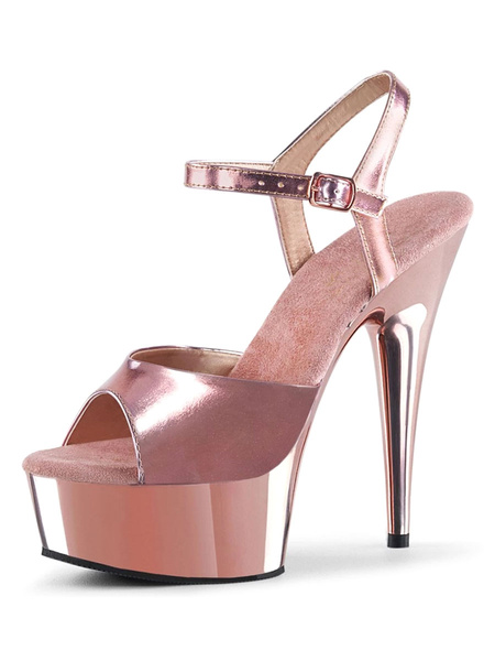 Milanoo High Heel Sexy Sandals Blond PU Leather Peep Toe Golden Ankle Strap Platform Sexy Sandals