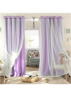 Romantic Purple Sheer and Shading Cloth Sewing Together Grommet Top Custom Blackout Curtains