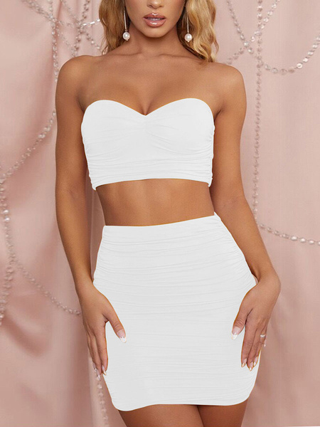 Milanoo Two Piece Sets Sexy Crop Top With Skirt Outfit For Women