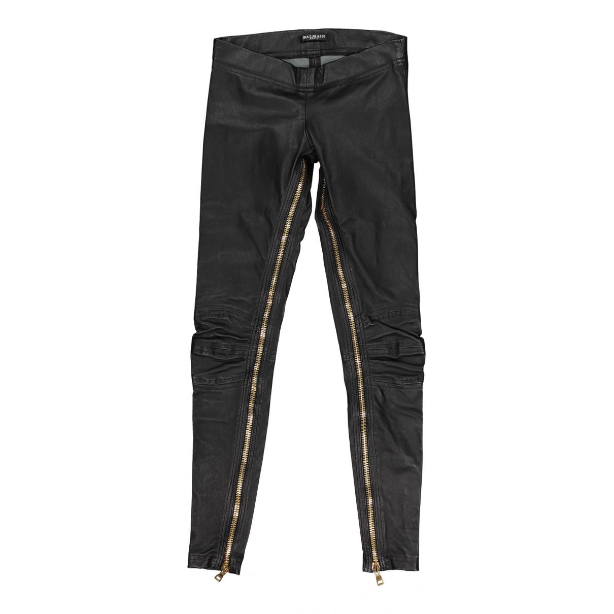 Balmain - Pantalon   pour femme en cuir - noir