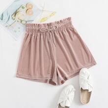 Drawstring Paperbag Waist Velvet Shorts