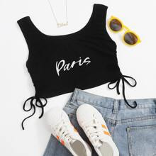 Drawstring Side Letter Graphic Tank Top