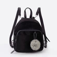 Pom Pom Decorated Velvet Backpack