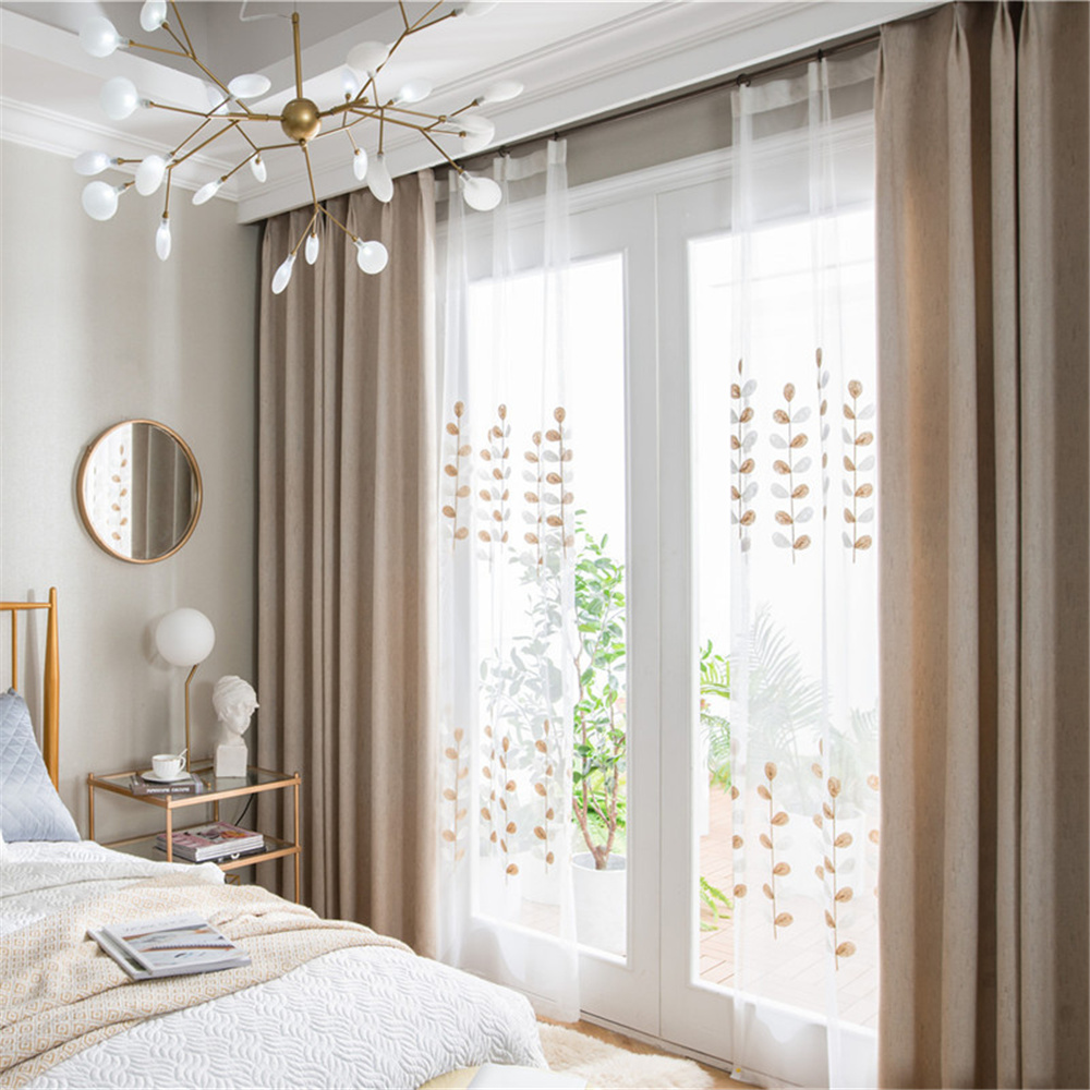 Modern Elegant Style Voile Sheer Curtains Drapes for Living Room Bedroom Water-Soluble Embroidery Material for Good Breathability and No off-lining